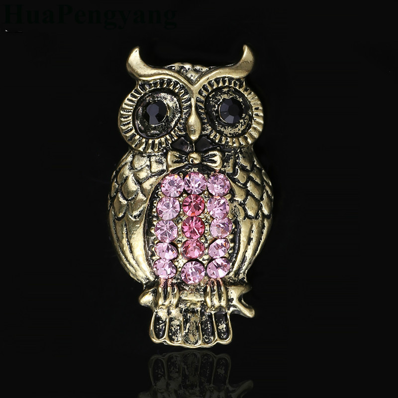 Christmas Gifts Cute Owl Crystal Brooches Pins Clothing Accessories Wholesale Rhinestone Pins Fashion Safety Pin