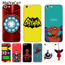 MaiYaCa Marvel Comics DC Comics Iron Man Spider-Man joker Batman phone Case for iPhone 8 7 6 6S Plus X 10 5 5S SE XR XS XS MAX(China)