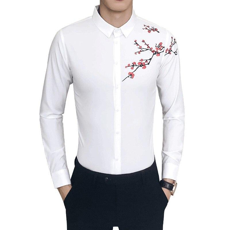Bescheiden Qualität Männer Shirt Mode 2018 Slim Fit Stickerei Kleid Shirts Männer Nacht Club Casual Langarm Alle Spiel Männlichen Hemd 5xl-s Heißer