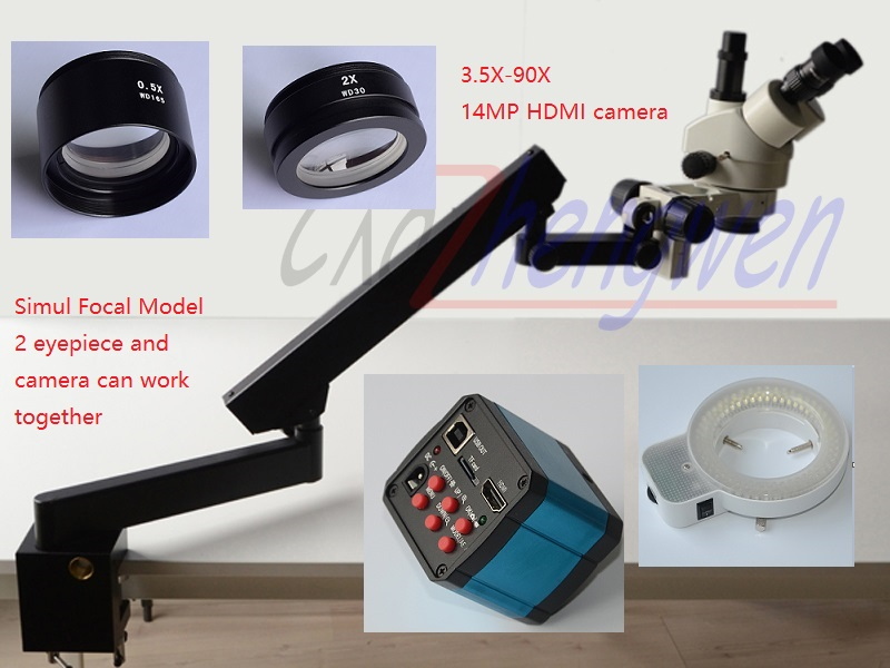 FYSCOPE 3.5X-90X Trinocular Articulating Arm Pillar Clamp 144-LED Simul Focal Model  Microscope+14MP HDMI camera+144 LED Light