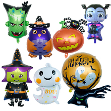 Balloons Pumpkin-Head Party-Decoration Globos 1pc Ghost Aluminum-Foil Witch Owl Kids