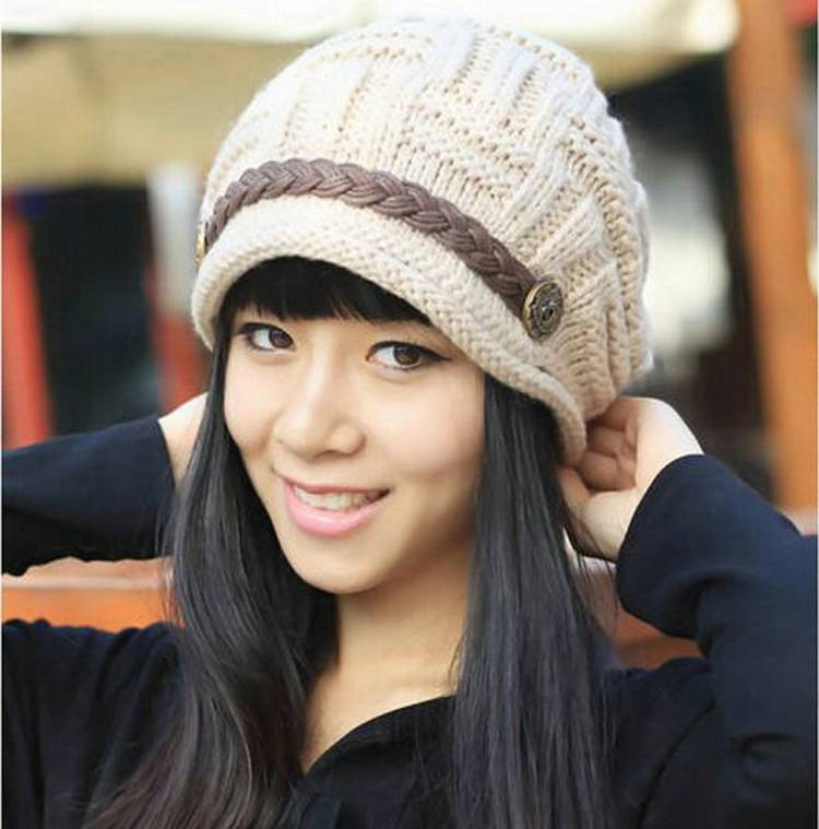 e992148e30c Lady Caps Acrylic Bennie Edge Button Belt Headwear Hats Knitted-in Bomber  Hats from Apparel Accessories on Aliexpress.com