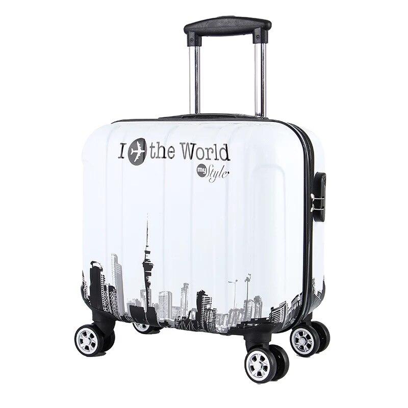 Valise de chariot de voyage de 18 pouces pour les femmes et les hommes sacs de voyage de chariot roues de Spinner bagage roulant d'étudiant embarquant des bagages de voyage-in Valises from Baggages et sacs    1