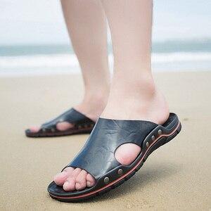 Image 3 - Мужские кожаные шлепанцы для улицы, Повседневные тапочки, летняя обувь на плоской подошве, пляжные тапочки, размера плюс, 4 цвета