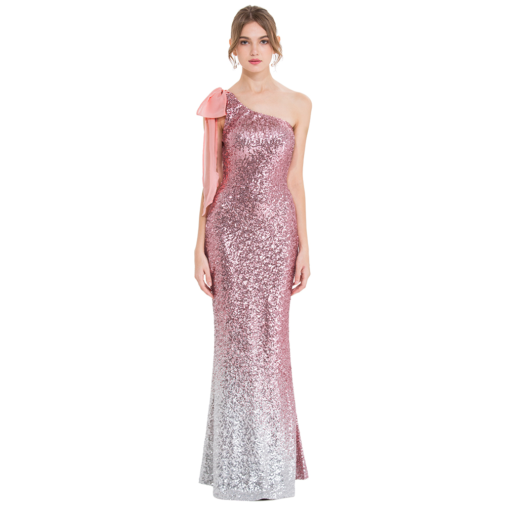 Angel fashions Women s One Shoulder Evening Dresses Long Formal Gradient Sequin Pink Silver Birthday Party