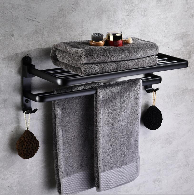 Alliage d'aluminium 63 cm porte-serviettes de salle de bain pliant noir huile brossé pliable fixe porte-serviettes de bain étagères de bain porte-serviettes