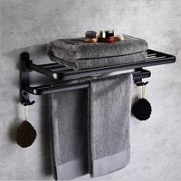 Aluminum Alloy 63 cm Folding Bathroom Towel Rack Black Oil Brushed Foldable Fixed Bath Towel Holder Bath Shelves Towel Rail