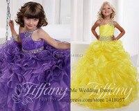 2015 принцесса сладкий желтый фиолетовый театрализованное платья бальное платье для детей платье невесты Vestido де Daminha выпускного вечера Chindren