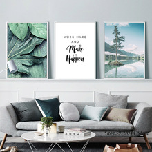 Nordic Poster Green Leaf Posters Landscape Canvas Painting Wall Picture Art Paintings For Living Room Unframed