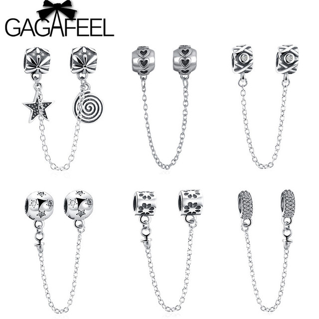 026fcab1e6747 Aliexpress.com : Buy GAGAFEEL Real 925 Sterling Silver Star Heart Safety  Chain Stopper Charm Beads fit European Bracelets for Women Original Jewelry  ...