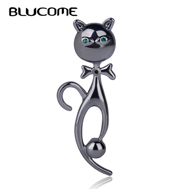 Blucome Exquisite Gun Black Color Cat Shape Brooch Alloy Crystal Jewelry For Women Mother Child Suit Coat Sweater Accessories