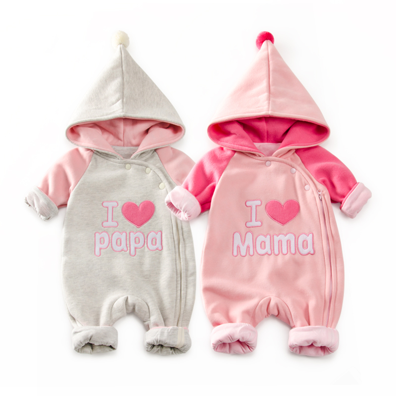 6-24 Months Autumn Hooded Baby Rompers Love Mama Baby Girls Boys Clothes Newborn Gift Jumpsuit Zipper Easy To Change Diaper