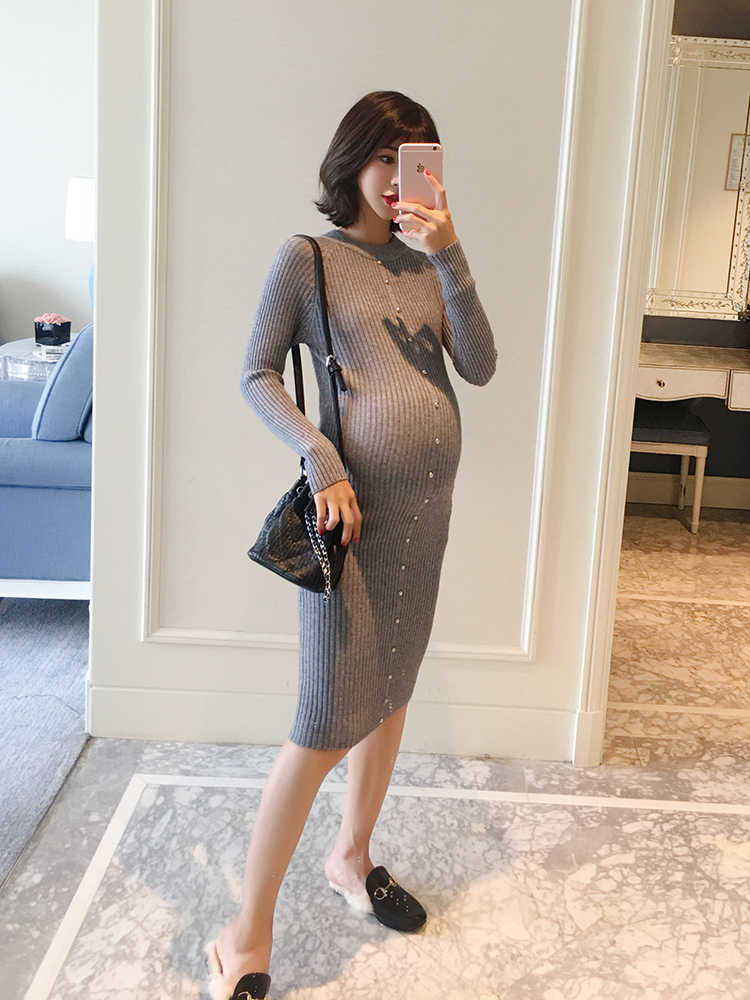 Одежда для беременных, осень 2018, новый пуловер для беременных, платье с рукавами, Тонкая зимняя вязаная юбка, модная