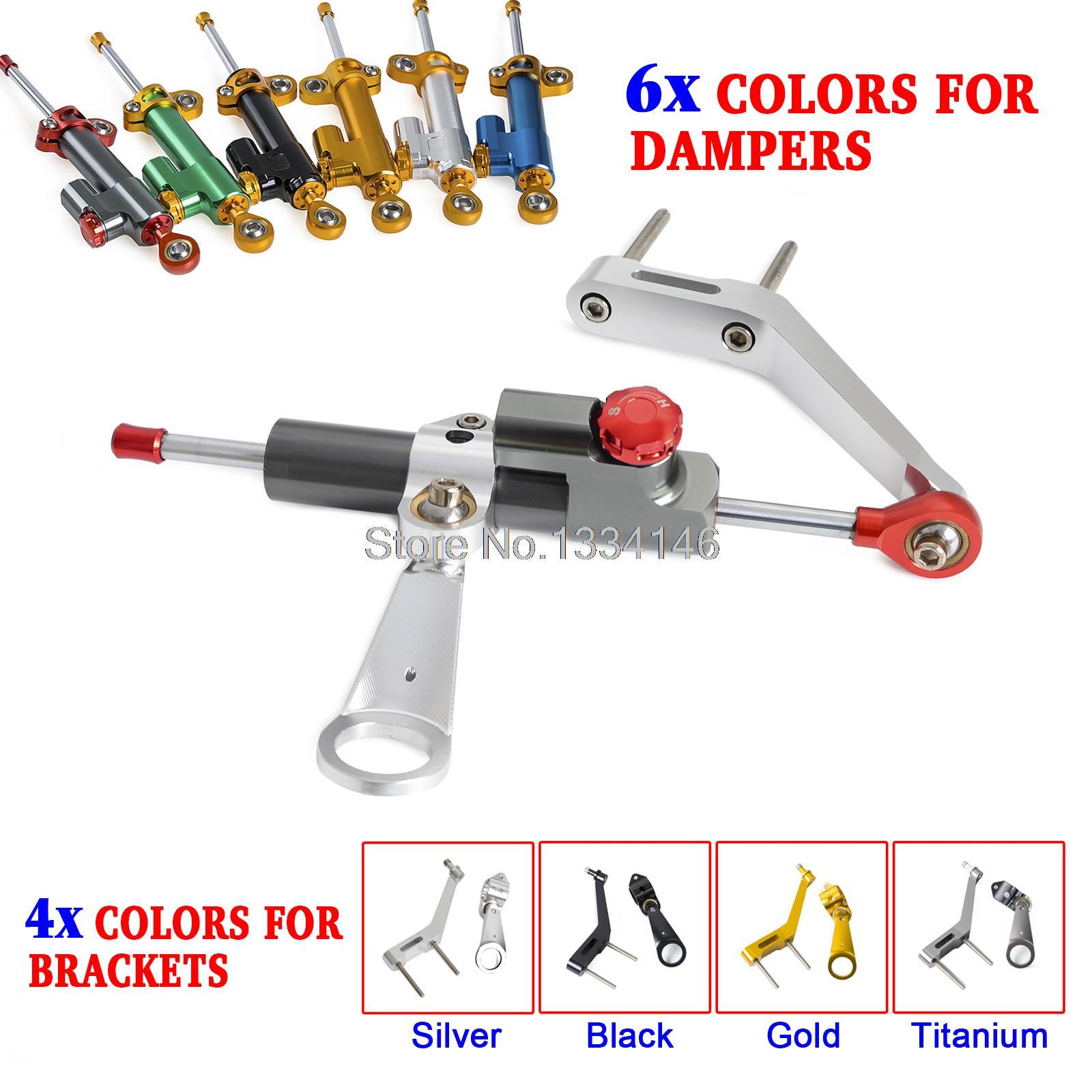 цена на New Sliver CNC Steering Damper Stabilizer & Bracket Kit For Honda CBR954RR 2002 2003 Motorcycle