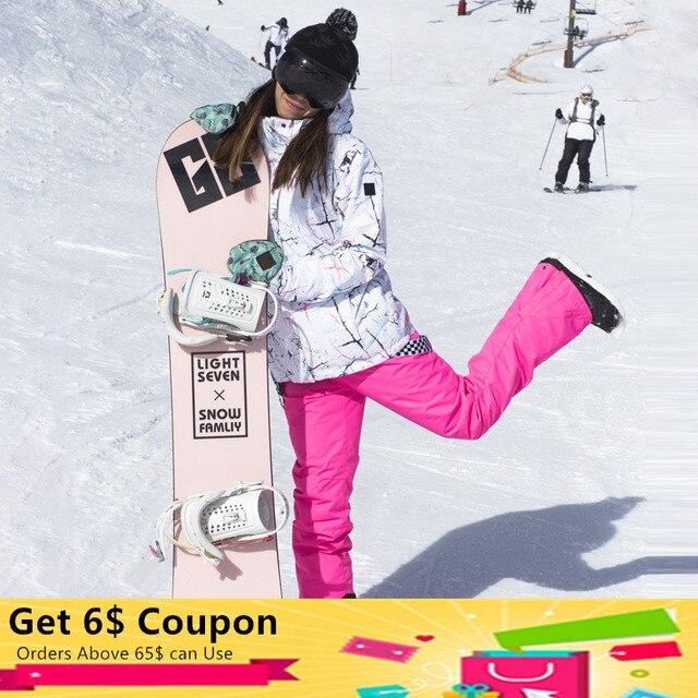 Лыжный костюм женская зимняя уличная непромокаемая ветрозащитная теплая Толстая Лыжная куртка комбинезоны для девочек шпон двухбортовая Лыжная одежда