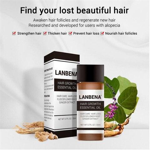 LANBENA 20ml Fast Powerful Hair Growth Essence Products Essential Oil Ginger Oil Liquid Treatment Preventing Hair Loss Hair Care Multan