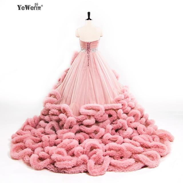 YeWen Nuvem de Luxo Princesa Long train vestido de Noiva plus size vestido de Baile Vestidos de Casamento 2018 vestidos de noiva robe de mariage