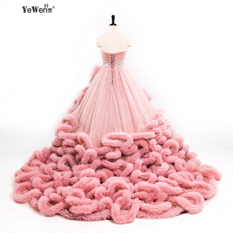 YeWen di Lusso Della Principessa Rosso Nuvola Rosa plus size abito di Sfera Abiti Da Sposa 2018 vestito da sposa abiti da noiva robe de mariage