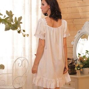 Image 3 - Camicia da notte da notte di marca camicie da notte da donna camicie da notte di cotone abbigliamento da interno Sexy abito da casa camicia da notte bianca abito da principessa taglie forti