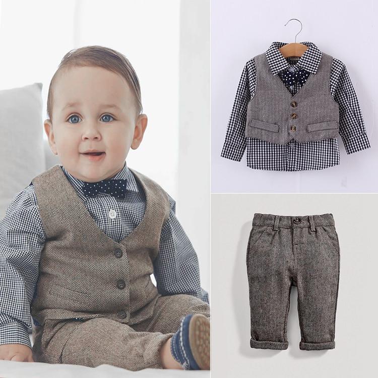 bdadcef42 2018 autumn Children clothing sets preppy style Kids suit baby boy suit  sets dress shirts+vest+trousers+bow tie 4pcs set qz5078