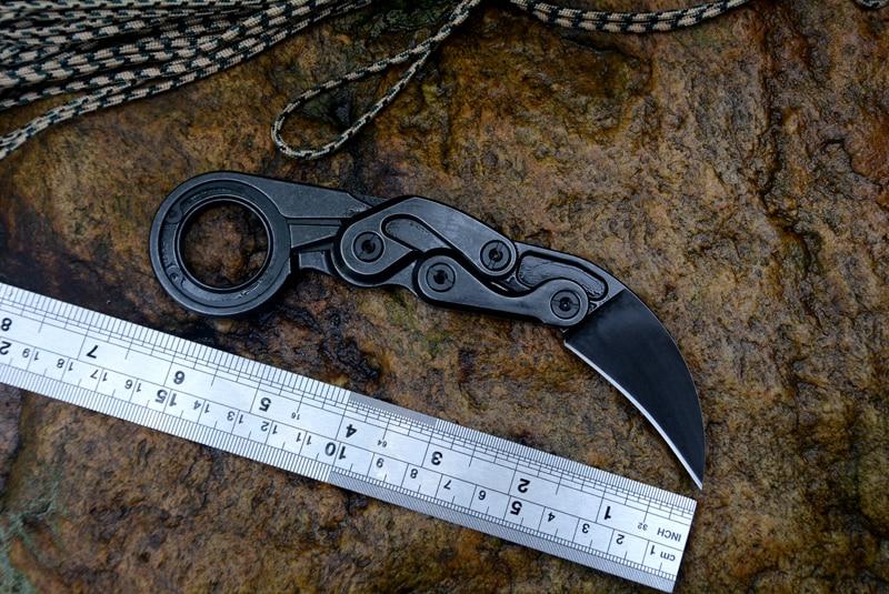 Couteaux à griffes mécaniques Karambit CS GO Cutter fixe D2 lame une poignée en acier solide survie sauvetage couteau d'extérieur Kydex gaine