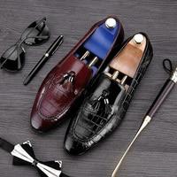 British Designer Round Toe Slip On Man Casual Shoes Genuine Leather Handmade Tassels Loafers Men S