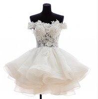 Sexy Mini Wedding Dress Beaded Appliques Robe De Mariage Bridal Dresses Party Gowns Unique Design Fairytale Princess 016329