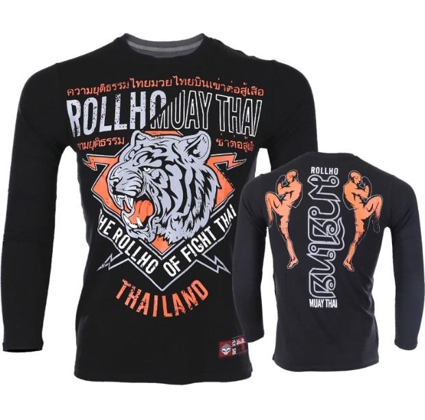 Soft Monkey ROLLHO Sport Male Muay Thai Tiger Fighting  Long-sleeved T Shirt Broadcasting Asked For Thai Sports Sanda Male Fi
