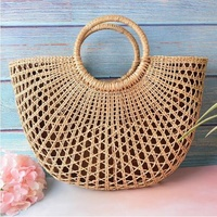 2019 New Fashion Women Bags Wicker Handbags Beach Straw Woven Totes Holiday Summer Rattan Basket Bag for Ladies