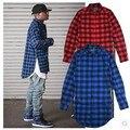 Nova Prolongado Long High Low Side Zipper Unisex Homem Camisa Dos Ganhos Tshirt T Shirt Homens Hip Hop Streetwear Hem Xadrez Azul Vermelho