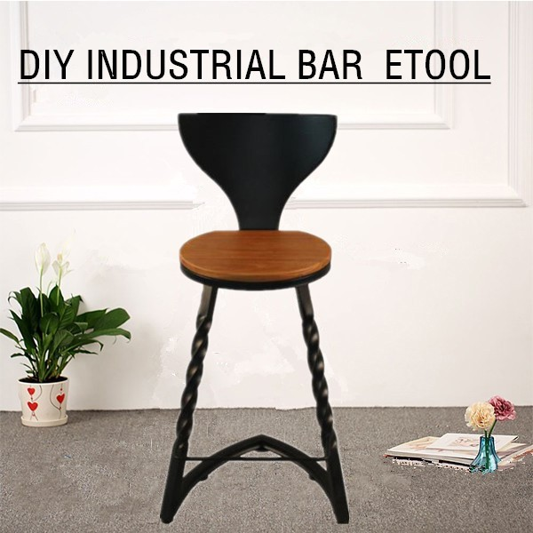 Industrial Chair Powder Coating Finish Metal Twist Leg Frame Rounded Wood W/backrest Bar Stool