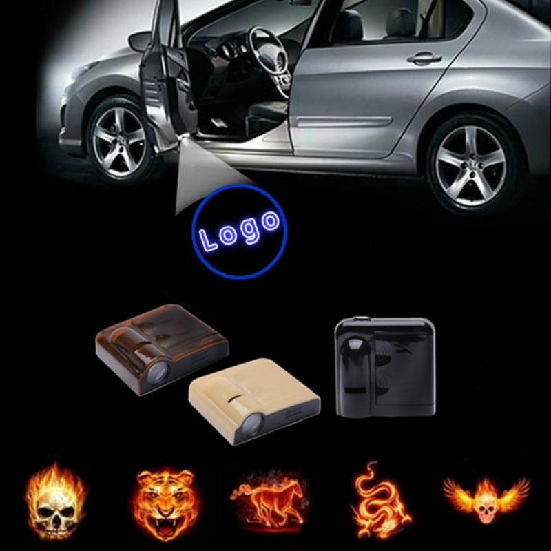 Jurus 2pcs Wireless Laser Projector Lamp Car Door Logo Light Welcome Ghost Shadow Lights Flame Chart Angel Wings Logo Led Light