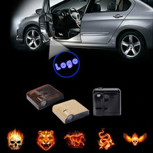 JURUS 2Pcs Wireless Laser Projector Lamp Car Door Logo Light Welcome Ghost Shadow Lights Flame Chart Angel Wings Logo LED Light(China)