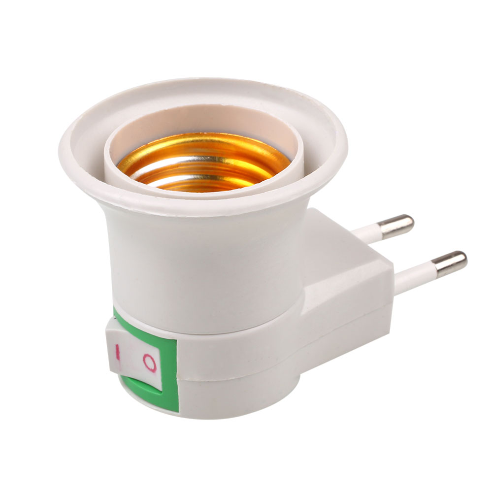 E27 Base Light Bulb Socket With Power Control On-off Switch EU Adapter