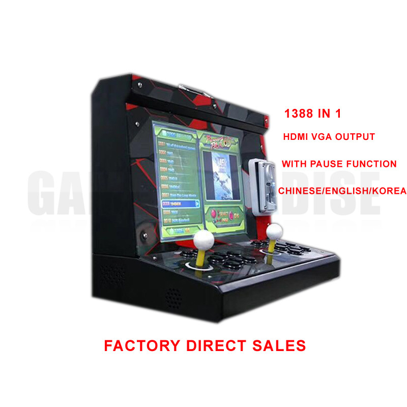 Купить с кэшбэком double player Arcade Game Machine with 15 inch LCD 1388 in 1 games board  household Cocktail