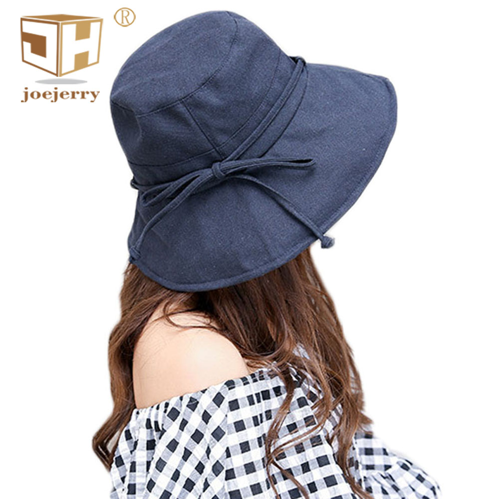 e08d56e65 US $14.33 |joejerry Bucket Hat Women Fisherman Japanese Hat Wide Brim Cloth  Sun Block Hats UV Protection For Summer Spring-in Women's Bucket Hats from  ...