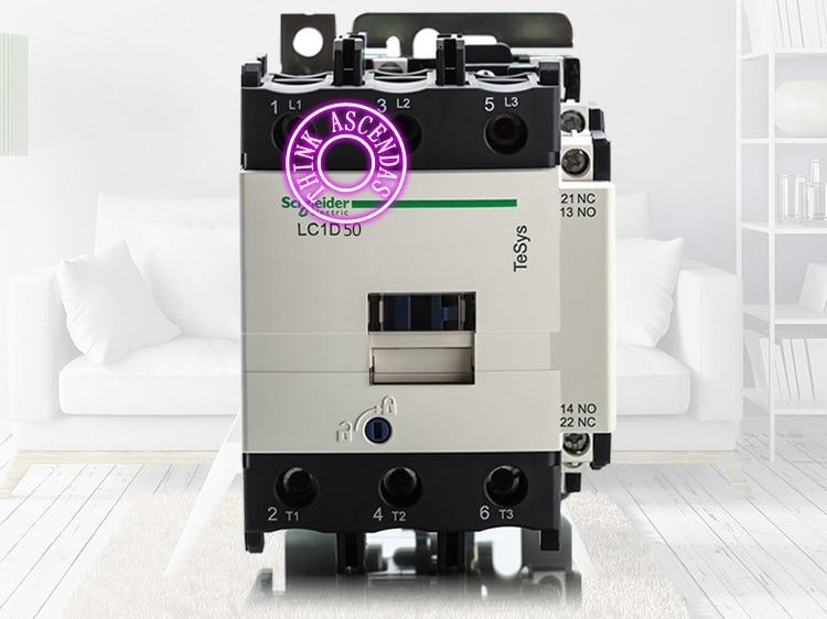 LC1D Series Contactor LC1D50 LC1D50R7C 440V / LC1D50T7C 480V / LC1D50U7C 240V / LC1D50W7C 277V LC1D50V7C 400V / LC1D50Z7C 21V AC new cad50bdc dc24v tesys d series contactor control relay 5no 0nc
