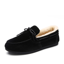 2016 Winter New Women Shoes Flat Plush Loafer Shoes Women Slip-on Doug Shoes
