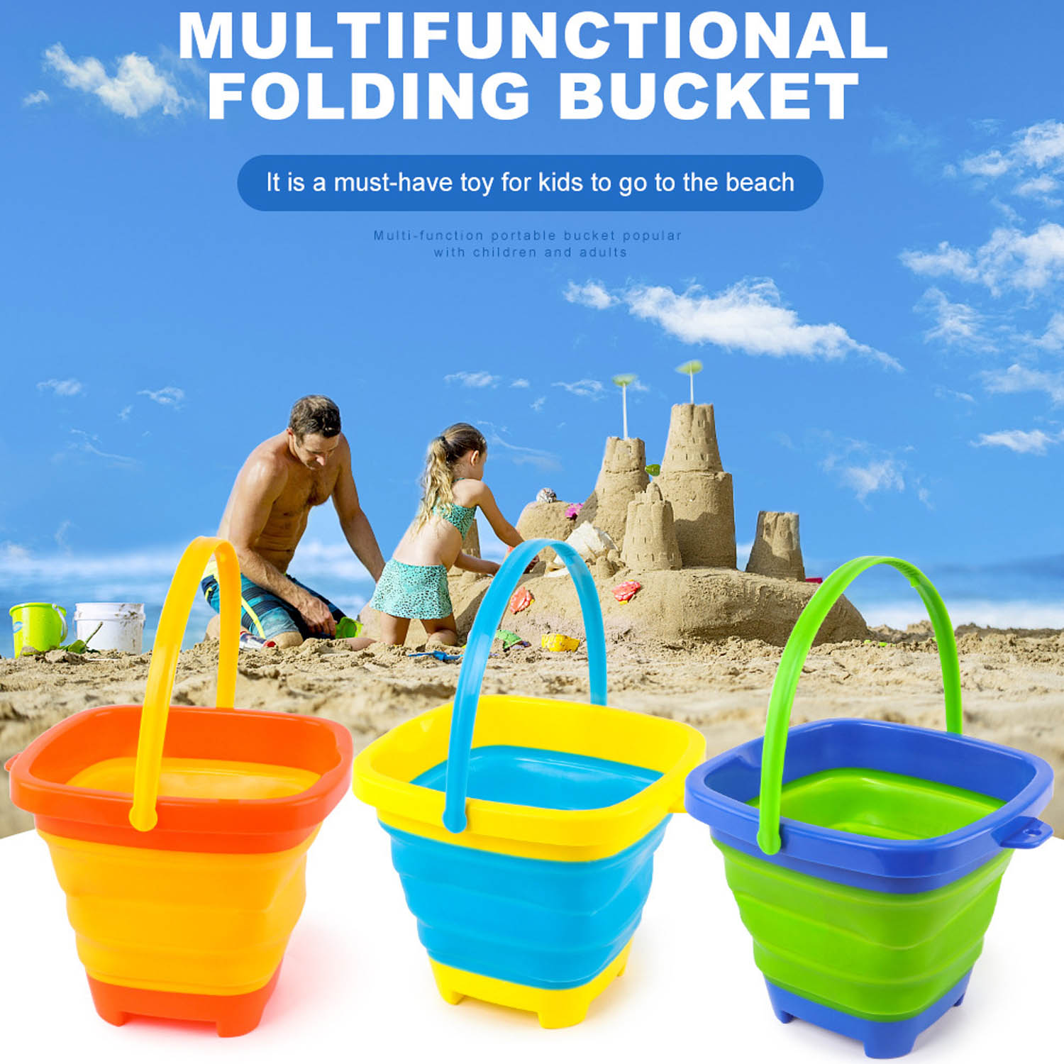 Kids Beach Sand Bucket Portable Foldable Silicone Beach Bucket Collapsible Sand Barrel Sandbox Outdoor Play Water Sand Tool Toy