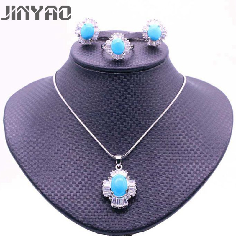 JINYAO Fashion Corss White Gold Color Pendant Necklace Earrings Ring Set For Women Blue Stone AAA Zircon Party indian JewelryJINYAO Fashion Corss White Gold Color Pendant Necklace Earrings Ring Set For Women Blue Stone AAA Zircon Party indian Jewelry