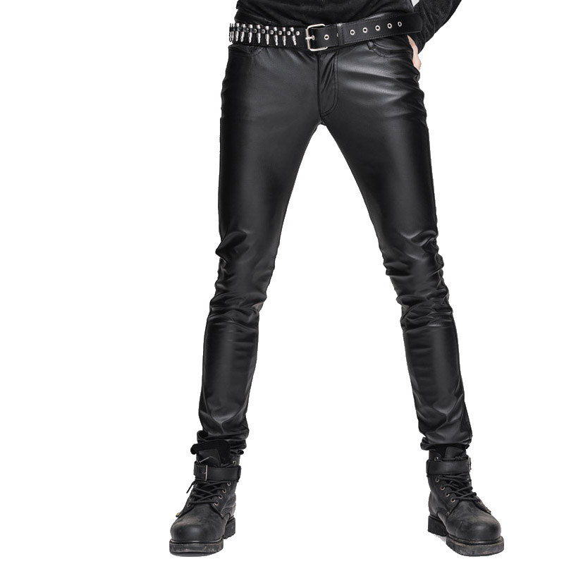 2017 New Mens Casual Good Elastic Stretch Tight PU Leather Pants Black Skinny Slim Fit Trousers With Zipper Large Size Pants
