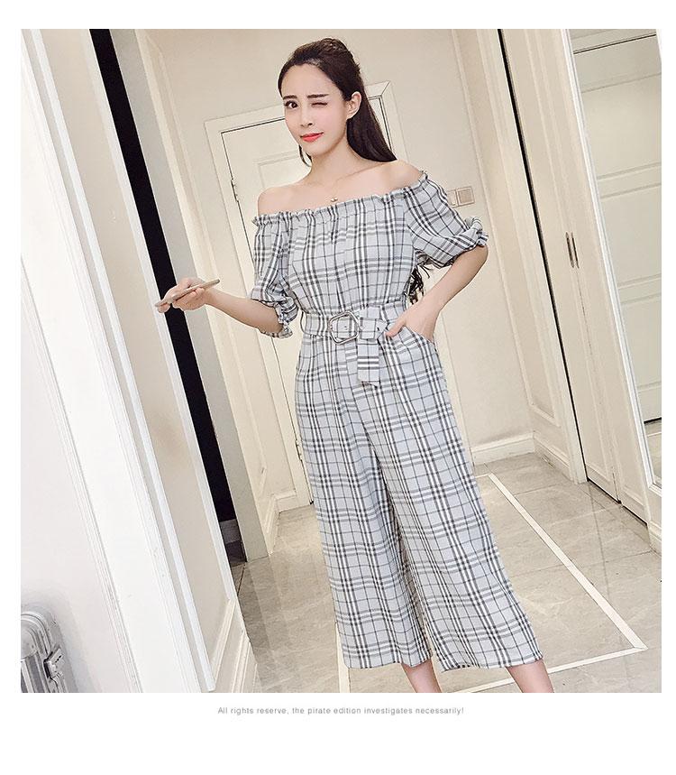 2018 Summer Style Fashion Sweet High Waist Wide Leg With Belt Jumpsuits Elegant Macacao Feminino Temperament Plaid Romper 12