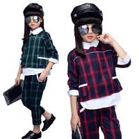 Children Girls clothing sets autumn teenage girls sport suit plaid suit school kids tracksuit for girls clothes two pieces 6~14T