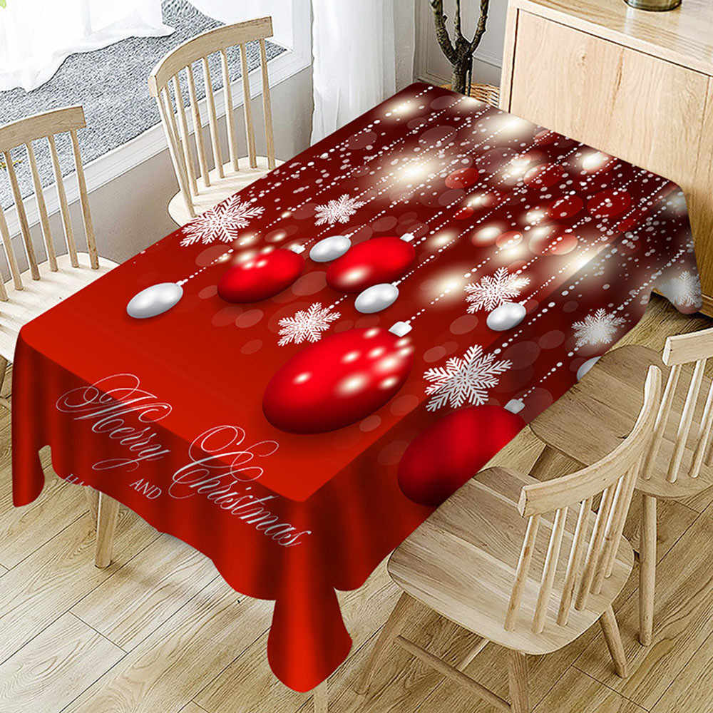 2018 Christmas Party Decoration  Christmas Tablecloth Print Rectangle Table Cover Holiday Party Home Xmas Decor New Year 2019
