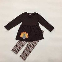 New Design Children Clothing Set Thanksgiving Holiday Costume Turkey Striped Legging Fashion Girls Outfits T018