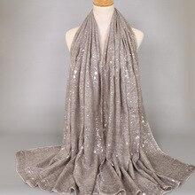 Дамская мода плотная мерцающий Серебряный пресс вискоза шаль шарф зима Bling зигзаг Oversize Толстая обмотка хиджабы мусульманских Sjaal