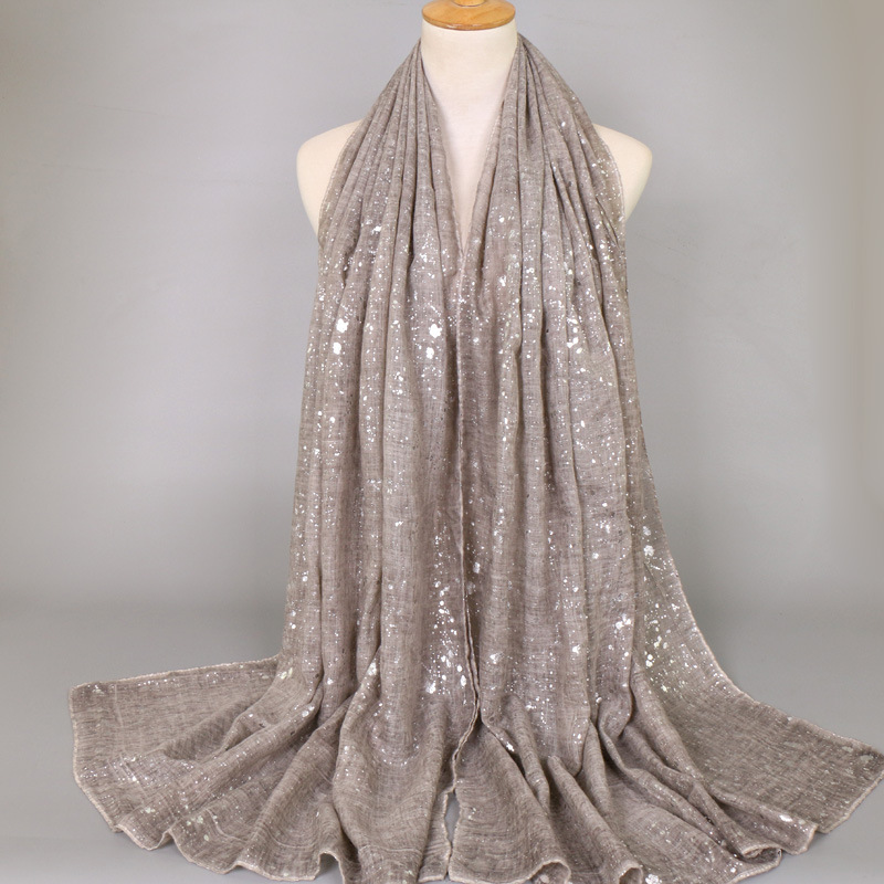 2019 Ladies Fashion Plain Shimmer Silver Press Viscose Shawl Scarf Winter Bling Zig Zag Oversize Thick Wrap Hijabs Muslim Sjaal