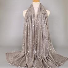 2020 Ladies Fashion Plain Shimmer Silver Press Viscose Shawl Scarf Winter Bling
