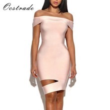 Ocstrade High Quality New Fashion Women Pink Sexy Cut Out Off Shoulder Bandage Dress Rayon