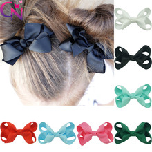 "50 Pcs/lot 3"" Plain Ribbon Hair Bows For Girls Kids Fashion Boutique Handmade Bows With Clips Children Hairpin Hair Accessories"